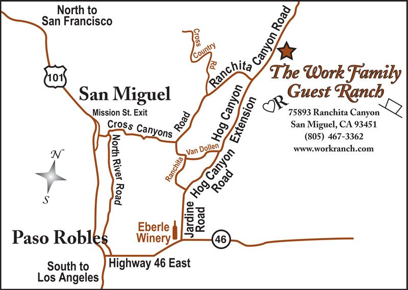 Work Ranch Directions Map